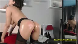 Squirting Fountain with Short Hair Mom Shiny and oiled
