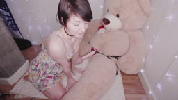 SHORT HAIRED BABE MAKES A BEAR HAPPY